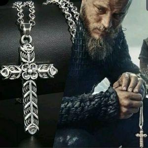Viking Ragnar Norse Christian Pagan Silver Cross